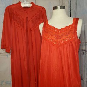 VINTAGE Red Slip Dress with Robe